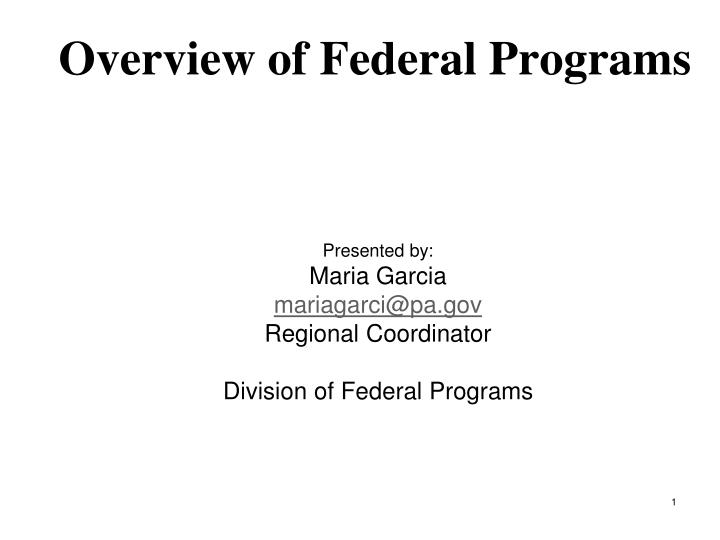 overview of federal programs n.
