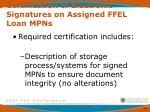certification of electronic signatures on assigned ffel loan mpns1