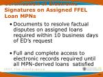 certification of electronic signatures on assigned ffel loan mpns3