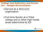 college cost reduction and access act budget reconciliation1