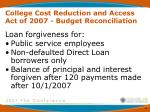 college cost reduction and access act of 2007 budget reconciliation