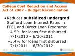 college cost reduction and access act of 2007 budget reconciliation10