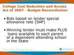 college cost reduction and access act of 2007 budget reconciliation15