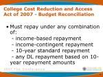 college cost reduction and access act of 2007 budget reconciliation2