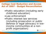 college cost reduction and access act of 2007 budget reconciliation5