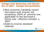 college cost reduction and access act of 2007 budget reconciliation8