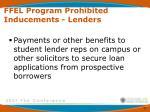 ffel program prohibited inducements lenders3