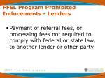ffel program prohibited inducements lenders4