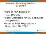 revised final regulations 9 28 07