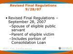 revised final regulations 9 28 071