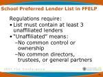 school preferred lender list in ffelp1