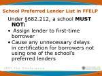 school preferred lender list in ffelp5
