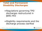 total and permanent disability discharges