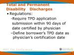 total and permanent disability discharges1