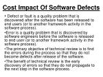 cost impact of software defects