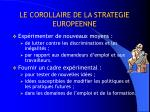 le corollaire de la strategie europeenne