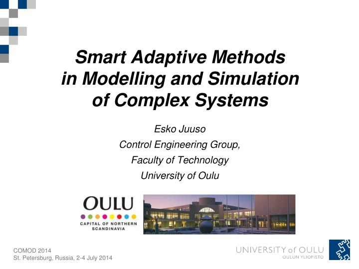 smart adaptive methods in modelling and simulation of complex systems n.