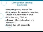 configuration settings examples1