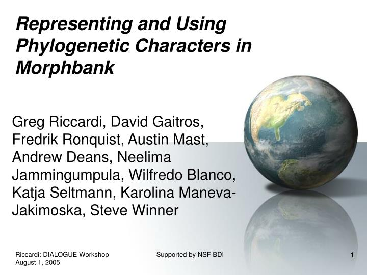 representing and using phylogenetic characters in morphbank n.