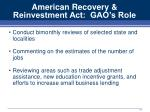 american recovery reinvestment act gao s role