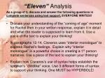 eleven analysis