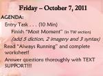 friday october 7 2011