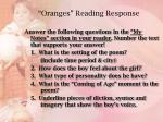 oranges reading response
