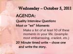 wednesday october 5 2011