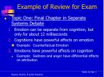 example of review for exam
