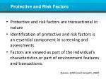 protective and risk factors