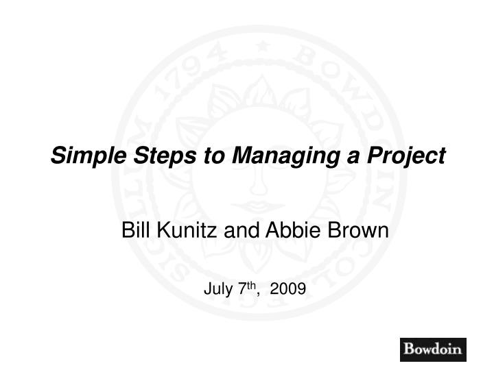 simple steps to managing a project n.