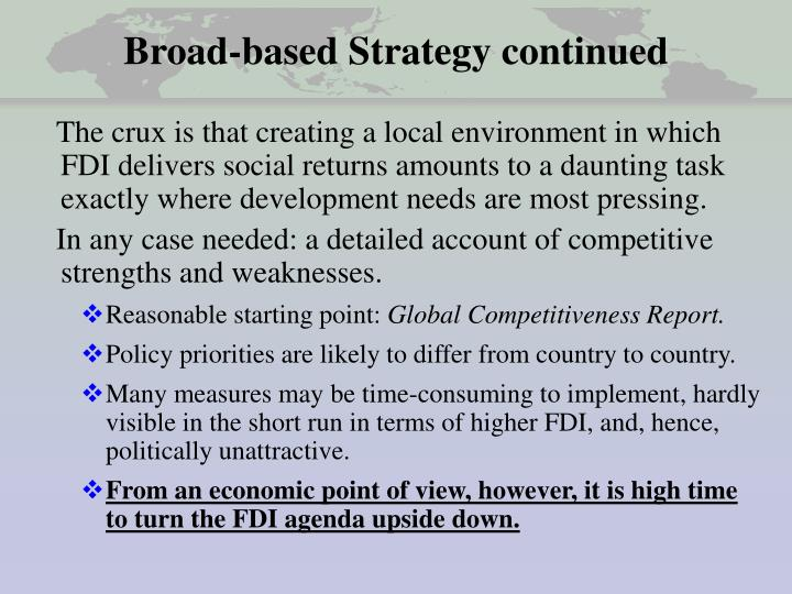 Broad-based Strategy continued