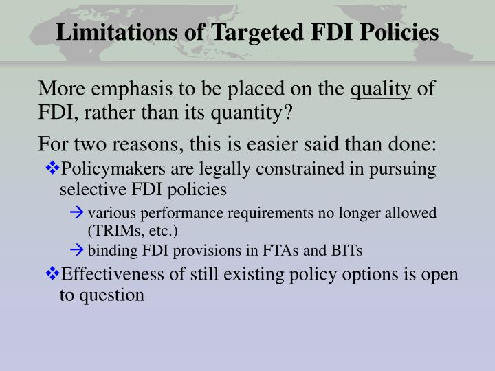 Limitations of targeted fdi policies