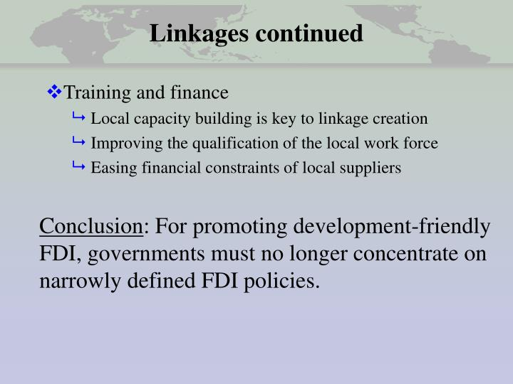Linkages continued