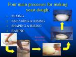 four main processes for making yeast dough