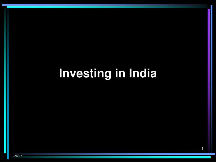 investing in india n.