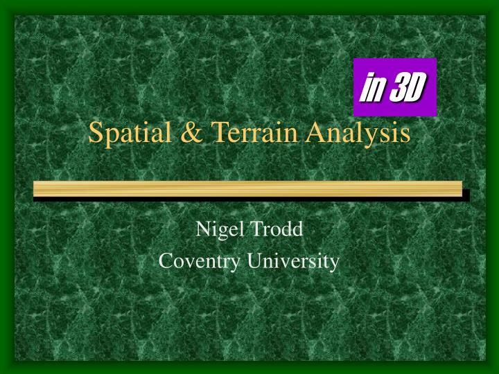 spatial terrain analysis n.
