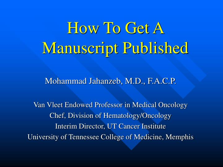 how to get a manuscript published n.