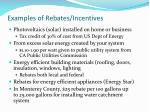 examples of rebates incentives