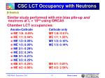 csc lct occupancy with neutrons