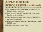 apply for the scholarship continued1