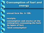 consumption of fuel and energy