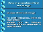 data on production of fuel and energy1