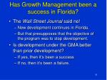 has growth management been a success in florida