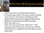 reflection writing journaling