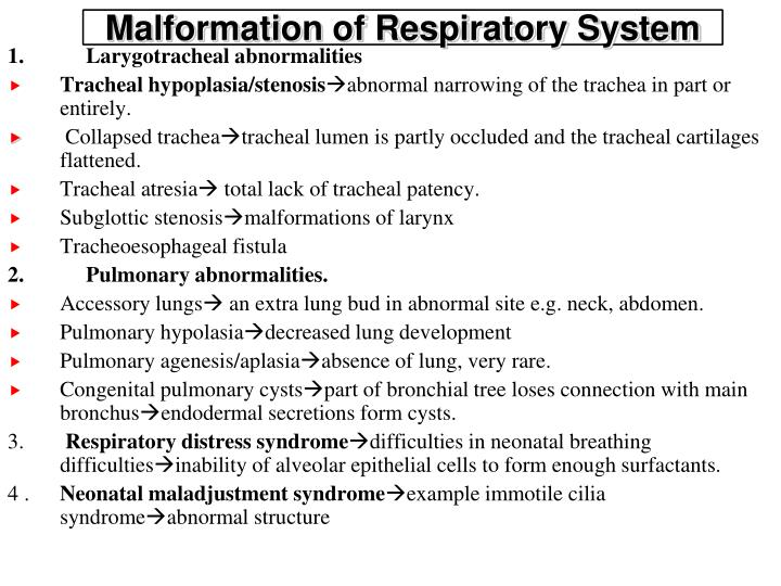 Malformation of Respiratory System