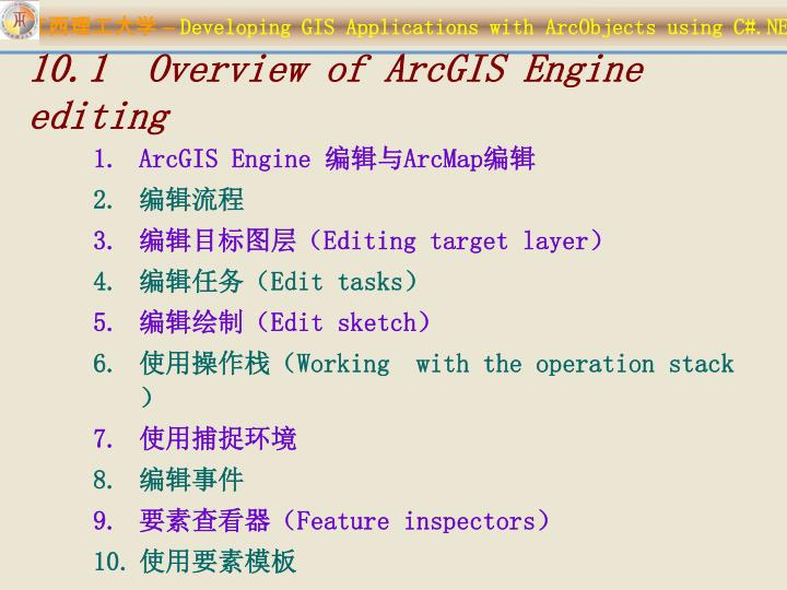 10.1  Overview of ArcGIS Engine editing
