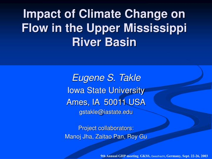 impact of climate change on flow in the upper mississippi river basin n.