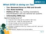 what dfid is doing on tax