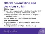 official consultation and decisions so far